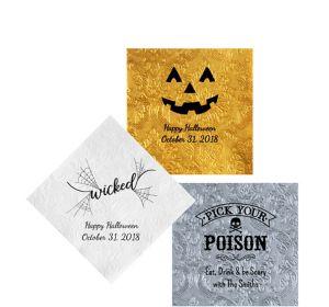 Personalized Halloween Embossed Damask Beverage Napkins