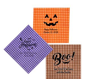 Personalized Halloween Gingham Lunch Napkins