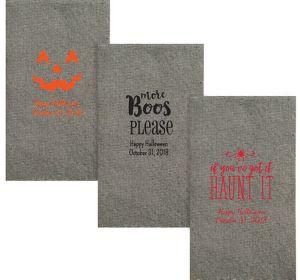 Personalized Halloween Tweed Print Guest Towels