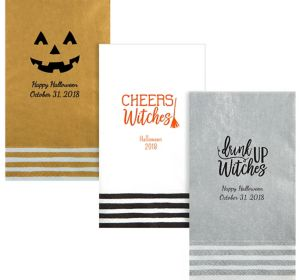 Personalized Halloween Stripe Border Guest Towels