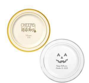 Personalized Halloween Trimmed Premium Plastic Dinner Plates