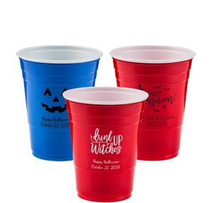 Personalized Halloween Solid-Color Plastic Party Cups 16oz