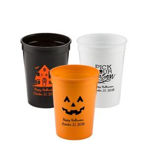 Personalized Halloween Plastic Stadium Cups 12oz