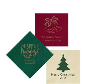 Personalized Christmas Premium Beverage Napkins