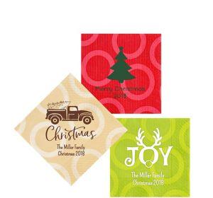Personalized Christmas Circles Beverage Napkins