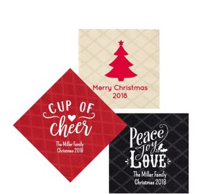 Personalized Christmas Diamonds Beverage Napkins