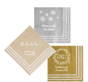 Personalized Christmas Stripe Border Lunch Napkins