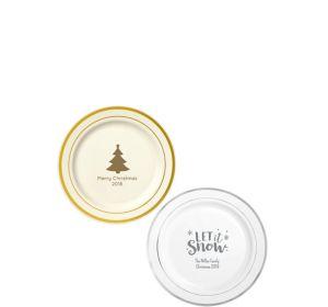 Personalized Christmas Trimmed Premium Plastic Dessert Plates