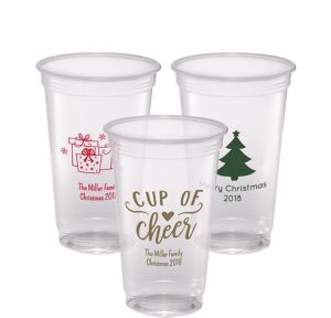 Personalized Christmas Plastic Party Cups 20oz