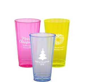 Personalized Christmas Neon Hard Plastic Cups 16oz