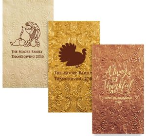 Personalized Thanksgiving Embossed Damask Guest Towels