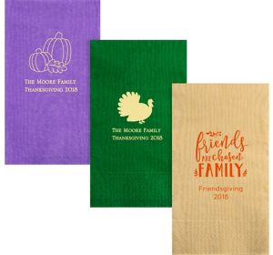 Personalized Thanksgiving Moire Guest Towels