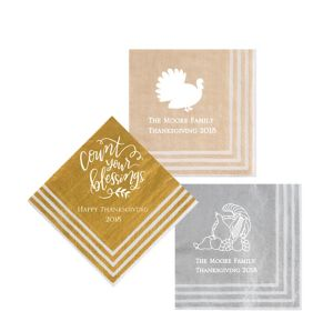 Personalized Thanksgiving Stripe Border Beverage Napkins
