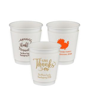 Personalized Thanksgiving Insulated Paper Cups 12oz