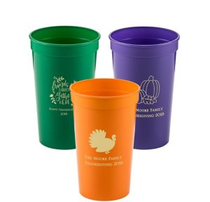 Personalized Thanksgiving Plastic Stadium Cups 22oz