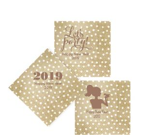 Personalized New Year's Small Dots Beverage Napkins