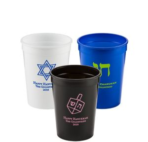 Personalized Hanukkah Plastic Stadium Cups 12oz