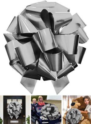 Jumbo Metallic Silver Gift Bow