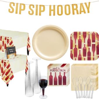Sip Sip Hooray Basic Party Kit for 32 Guests