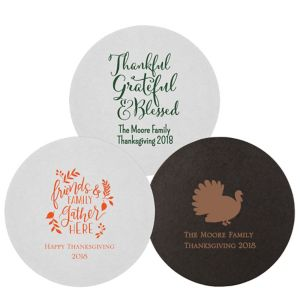 Personalized Thanksgiving 40pt Round Coasters
