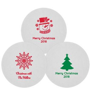 Personalized Christmas 80pt Round Coasters