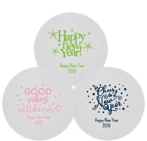 Personalized New Year's 80pt Round Coasters