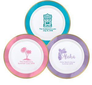 Personalized Luau Premium Round Trimmed Dinner Plates