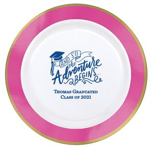 Personalized Graduation Premium Round Trimmed Dinner Plates
