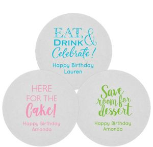 Personalized Birthday 80pt Round Coasters