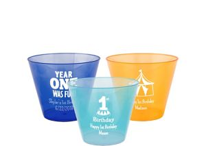 Personalized 1st Birthday Hard Plastic Color Cups 9oz