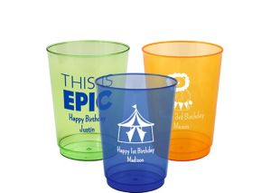 Personalized Boys Birthday Hard Plastic Color Cups 10oz