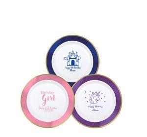 Personalized Girls Birthday Premium Round Trimmed Dessert Plates