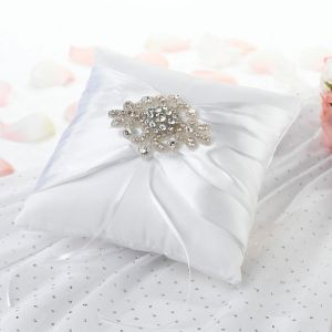 White Gemstone Ring Bearer Pillow