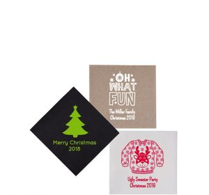 Personalized Christmas Petite Beverage Napkins