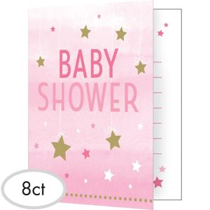 Pink Twinkle Twinkle Little Star Baby Shower Invitations 8ct