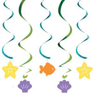 Friendly Mermaid Swirl Decorations 5ct