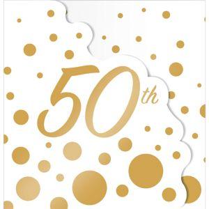 Metallic Gold Dots 50th Anniversary Invitations 8ct