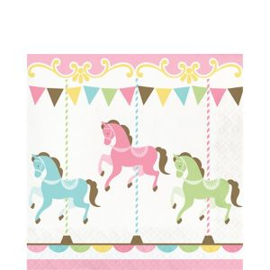 Pink Carousel Lunch Napkins 16ct