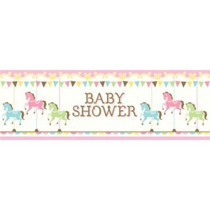 Giant Pink Carousel Baby Shower Banner