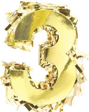 Metallic Gold Number 3 Pinata Decoration
