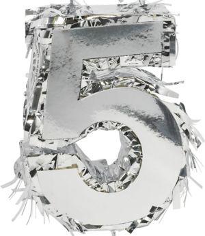 Metallic Silver Number 5 Pinata Decoration