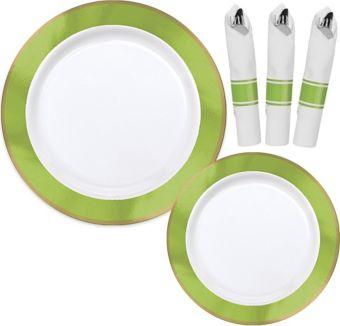 Premium Gold & Kiwi Green Border Tableware Kit for 20 Guests