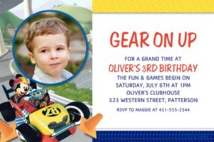 Custom Mickey & the Roadster Racers Photo Invitations