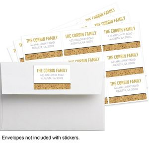 Custom Gold Glitter Hello New Year Stickers