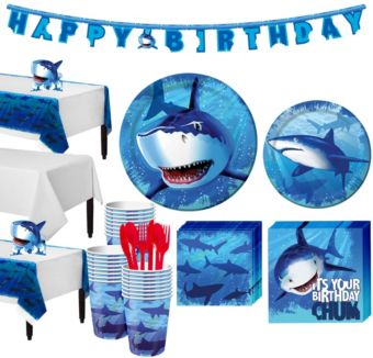 Shark Tableware Party Kit for 24 Guests