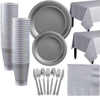 Silver Plastic Tableware Kit for 50 Guests