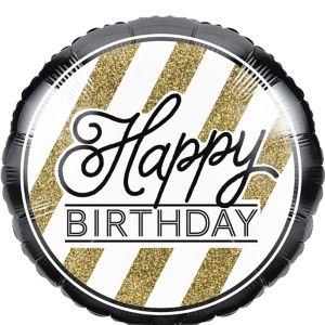 White & Gold Striped Happy Birthday Balloon