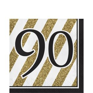 White & Gold Striped 90 Lunch Napkins 16ct