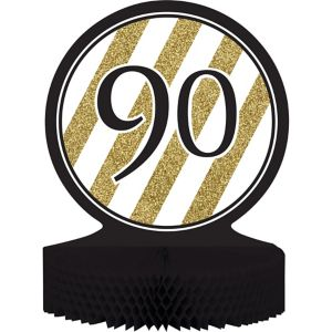 White & Gold Striped 90 Honeycomb Centerpiece
