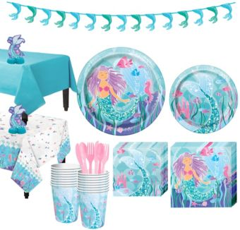 Mermaid Tableware Party Kit for 16 Guests